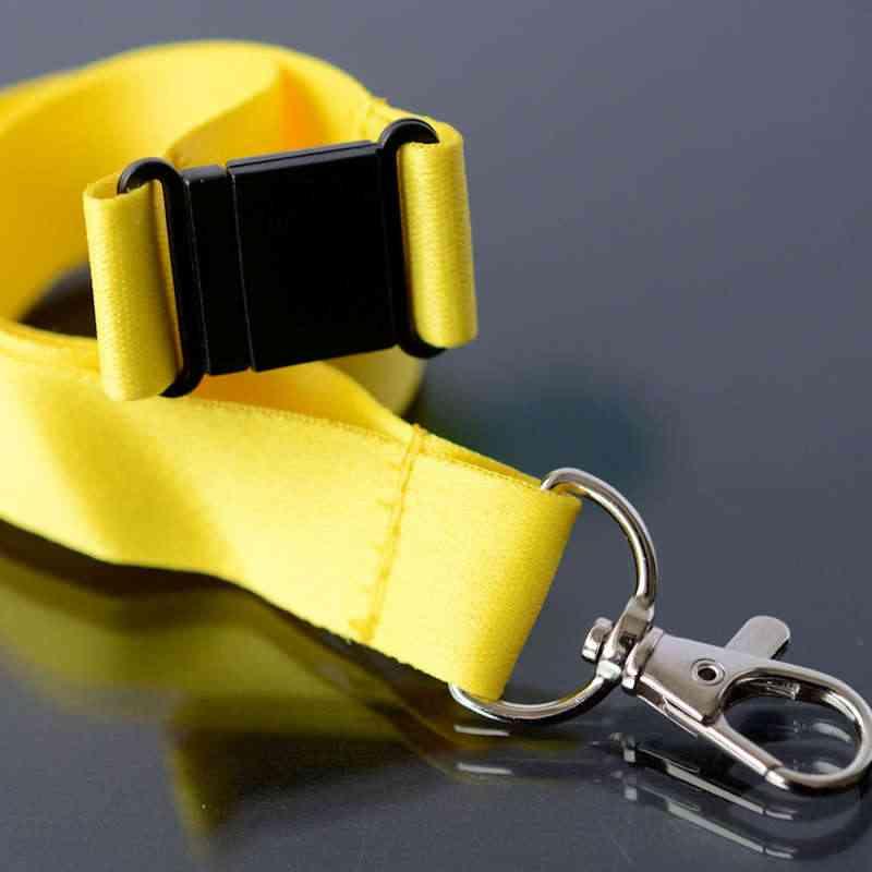 Keltainen Avainnauha 20mm turvalukolla ja papukaijaklipsillä (sopii sublimaatiopainamiseen)
