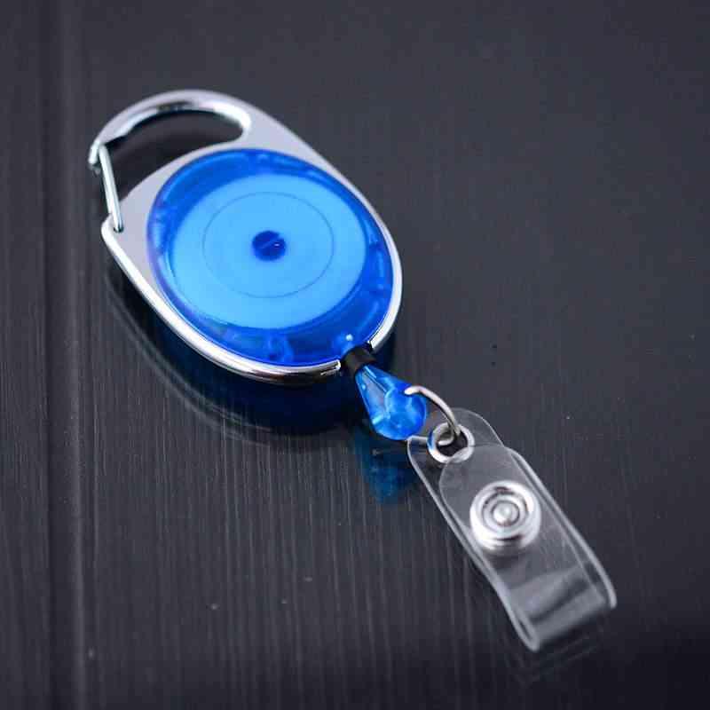 Sininen läpikuultava karabiinijojo vinyylilenkillä ja nepparilla esimerkiksi korttipidikkeelle