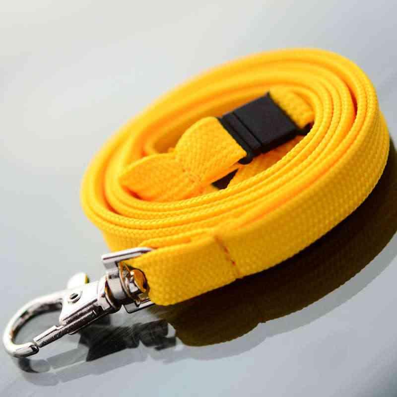 Mikadon Keltainen Classic 10mm kaulanauha turvalukolla ja papukaijaklipsillä