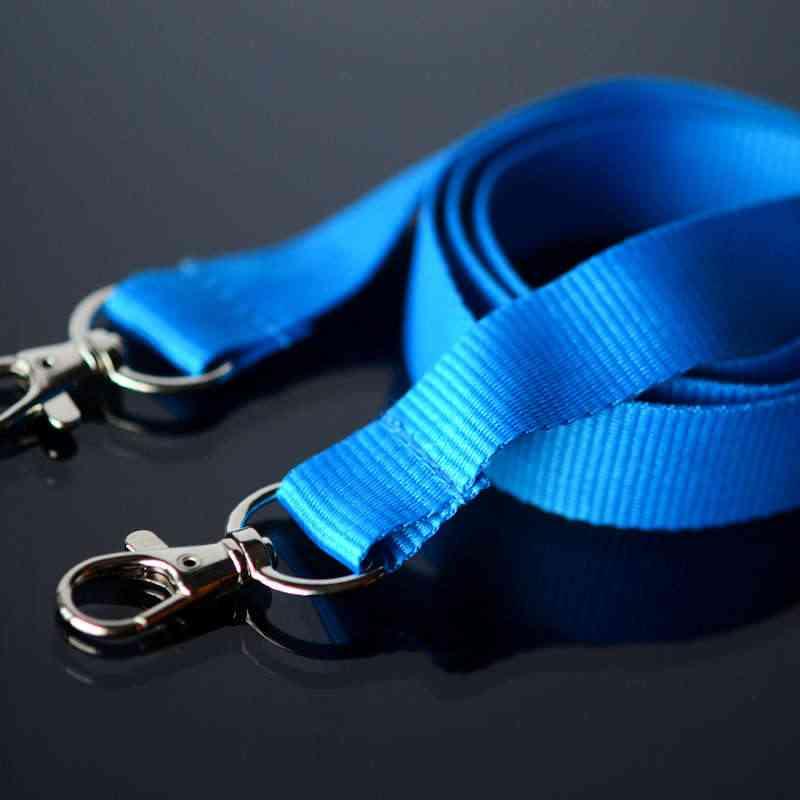 Sininen Avainnauha 20mm kahdella klipsillä, ei turvalukkoa, pehmeä materiaali
