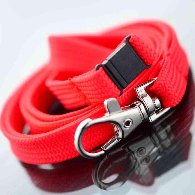Punainen Classic 10mm kaulanauha turvalukolla ja papukaijaklipsillä