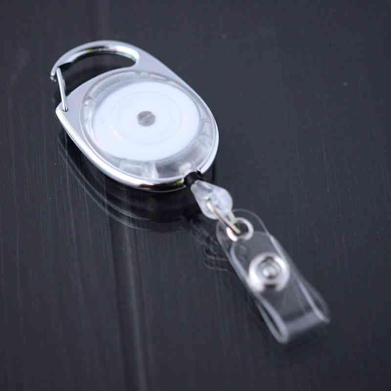 Kirkas läpikuultava karabiinijojo vinyylilenkillä ja nepparilla esimerkiksi korttipidikkeille